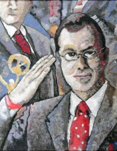 This is a picture my wife made of Stephen Colbert using dryer lint.  It's now hanging in a Ripley's Believe it or Not Museum somewhere.  Her web page is here:  www.heidihooper.com