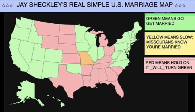 This map was done today, and became old just 10  minutes ago when Wyoming also joined us.