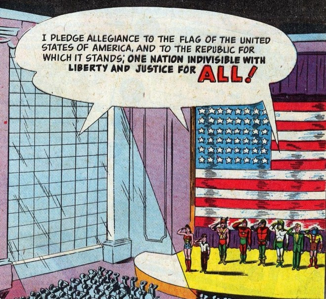 The Justice League saying the Pledge of Allegiance from a comic book in the 40s. Notice something missing?